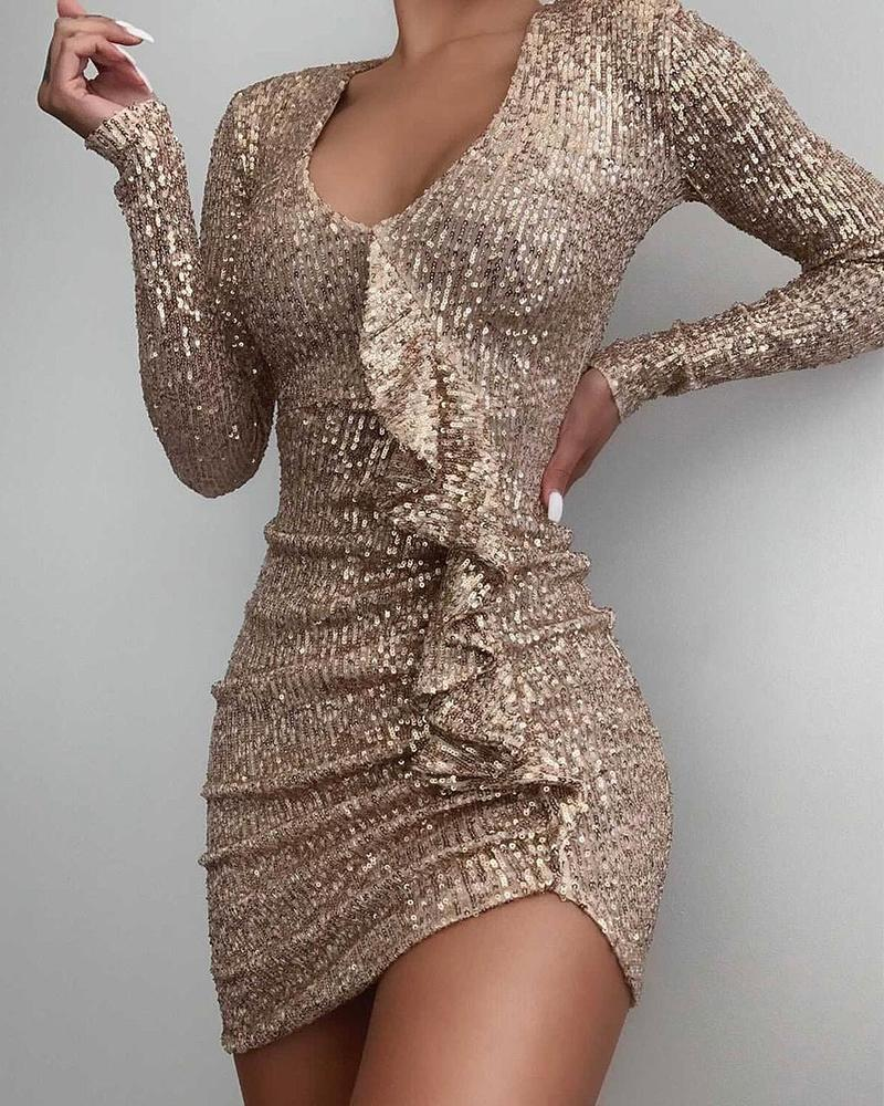 Long Sleeve Sequin Ruffle Hem Ruched Bodycon Dress U-neck Cocktail Dress Party Dress, Apricot