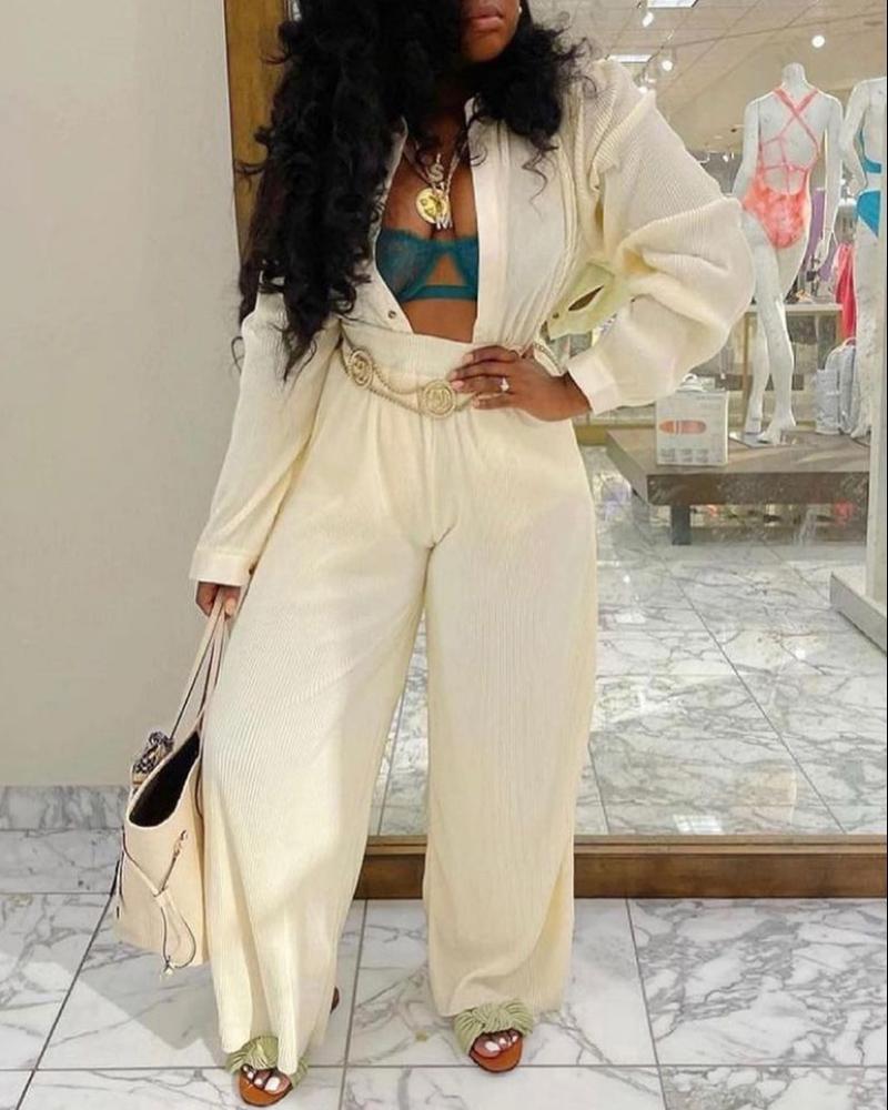 Long Sleeve Buttoned Top & Wide Leg Pants Set, White