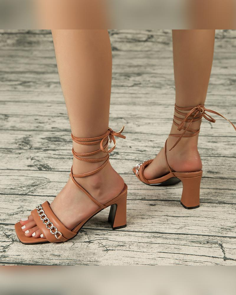 Solid Metallic Chain Patch Upper High Heel Sandals