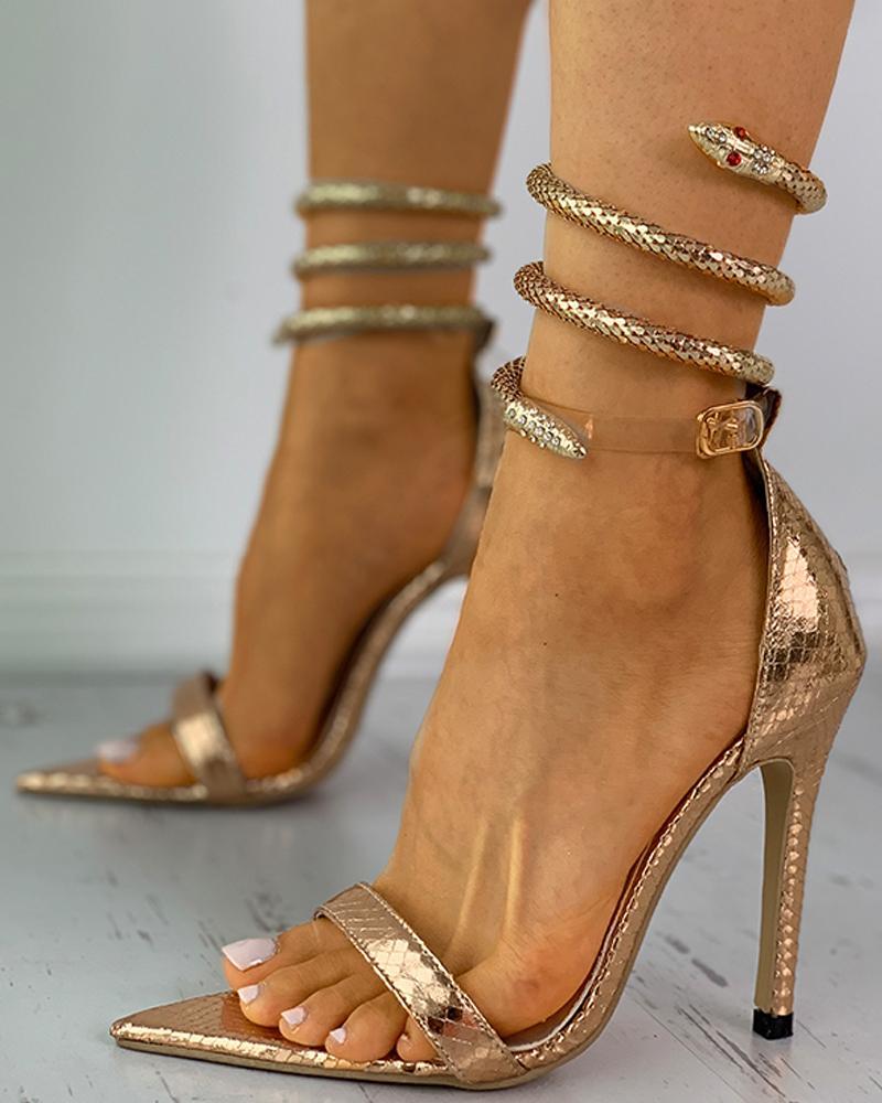 Snankesin Pattern Pointed Toe Stiletto Heel, Gold