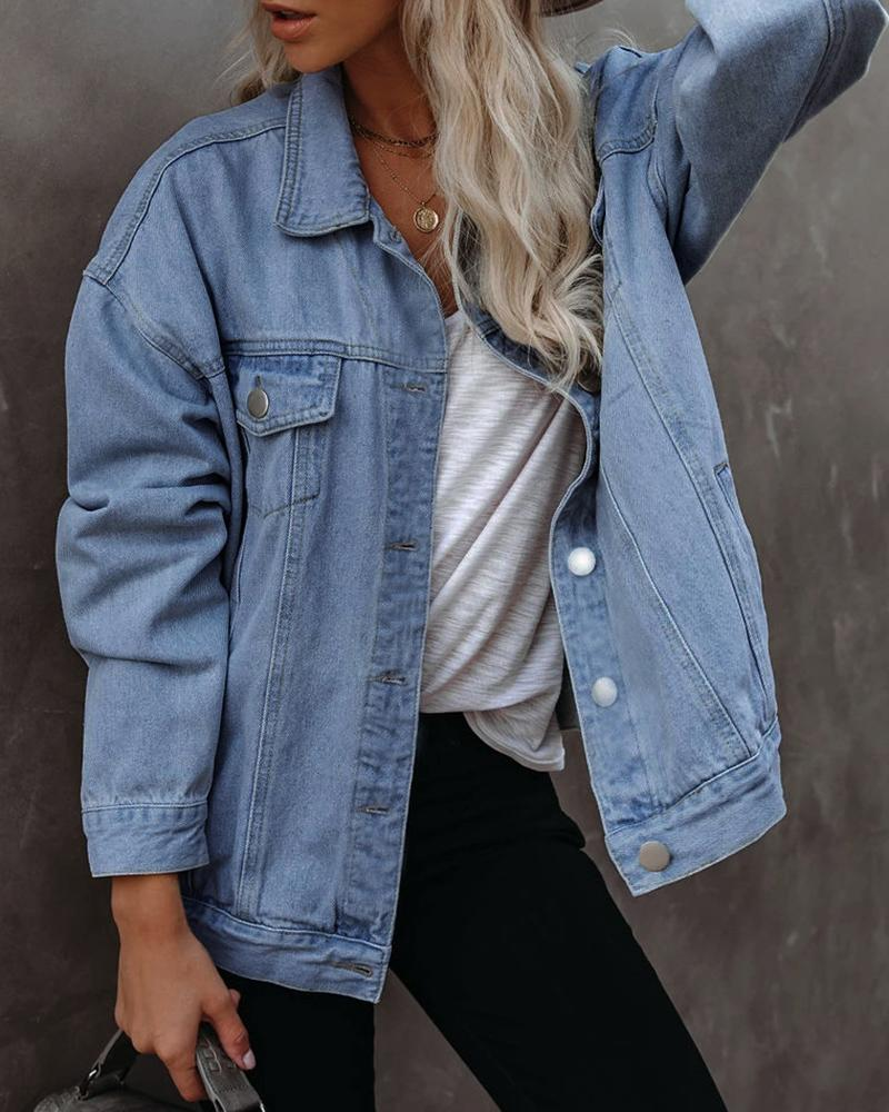 Long Sleeve Button Design Denim Coat