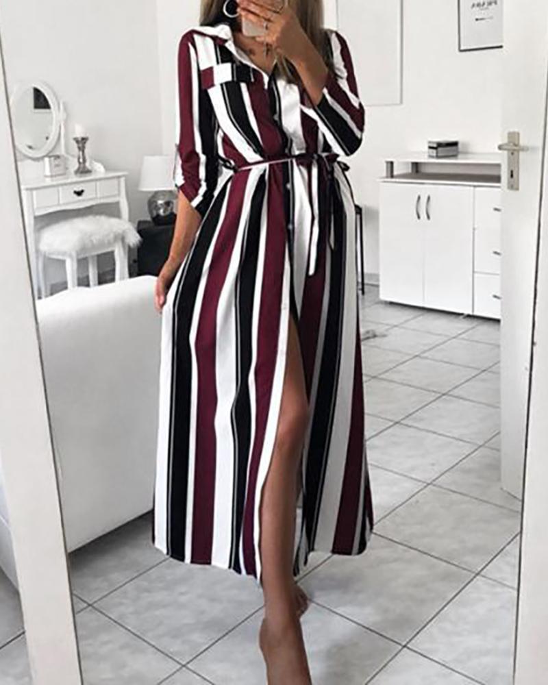 Striped Colorblock High Slit Pocket Design Shirt Dress