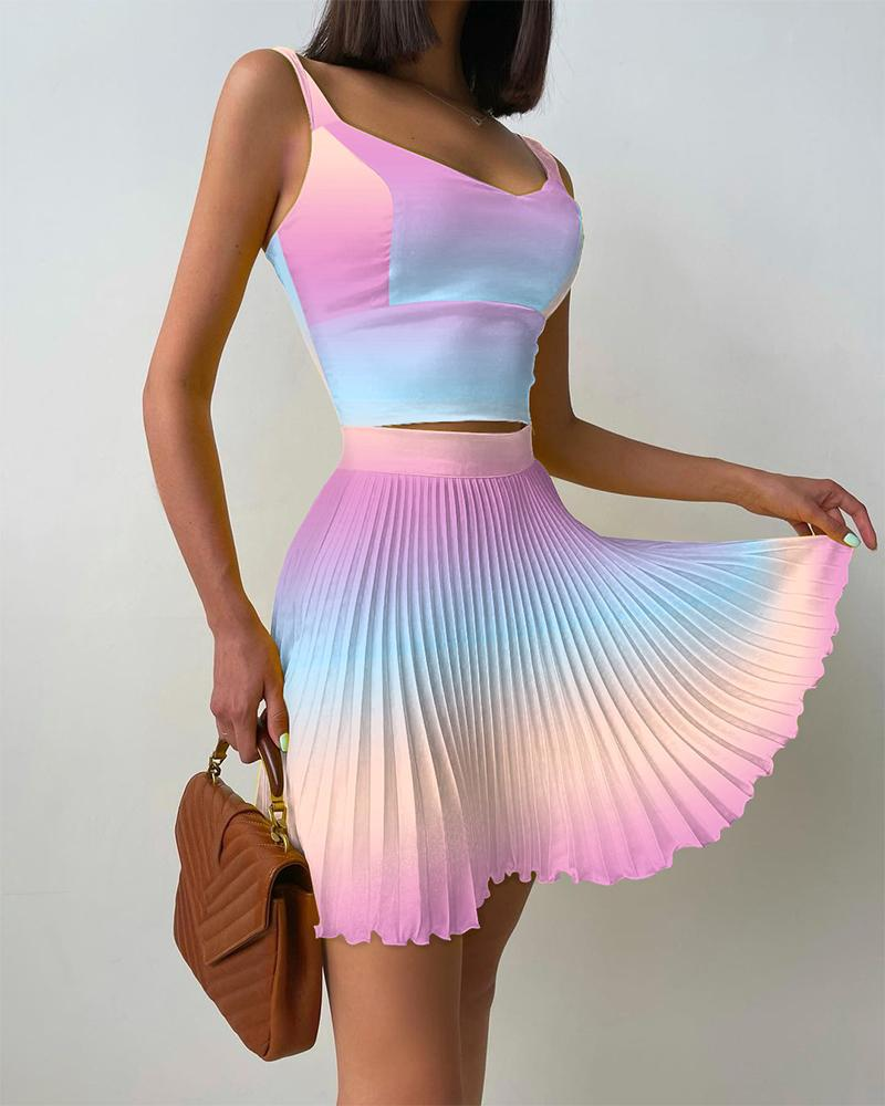 Ombre Tank Top & Pleated Skirt Set