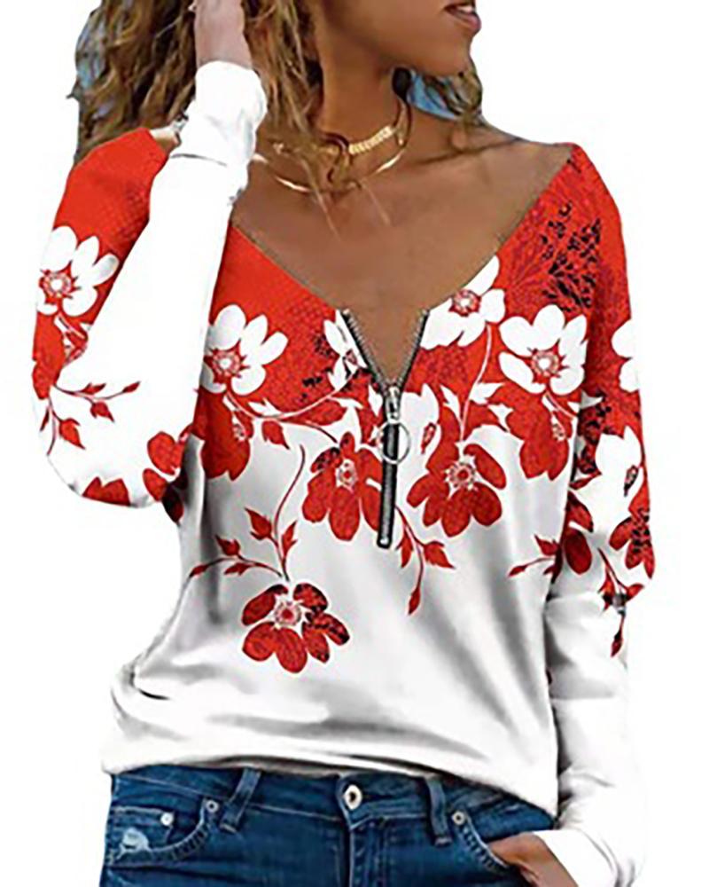 Floral Print Zipper Design Long Sleeve Top thumbnail