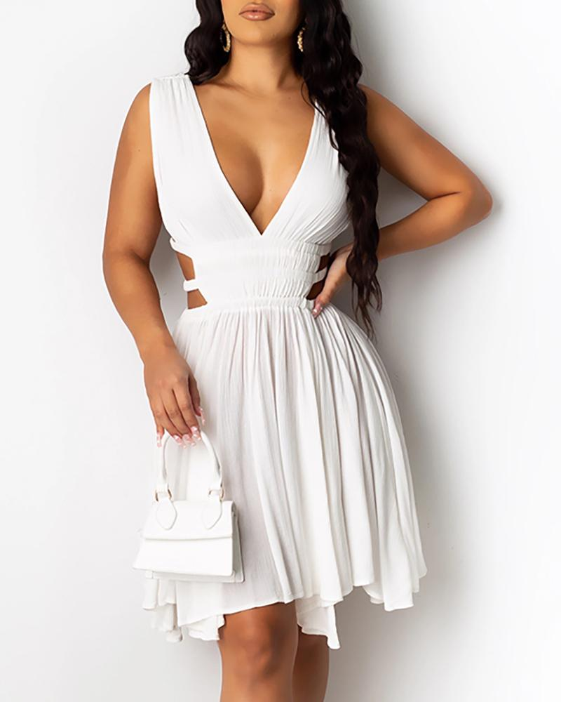 Deep V-Neck Plunge Cutout Ruched Backless Dress Casual Dress Bodycon Dress Elegant Party Dress