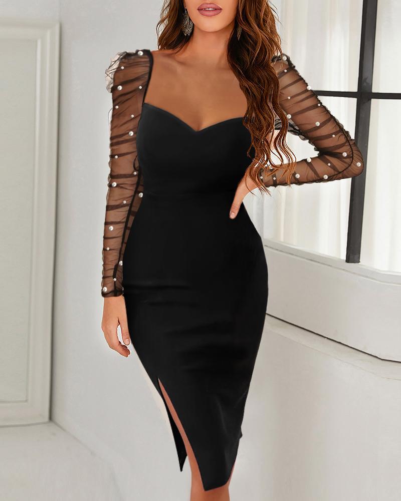 Solid Beaded Mesh Long Sleeve Split Bodycon Dress