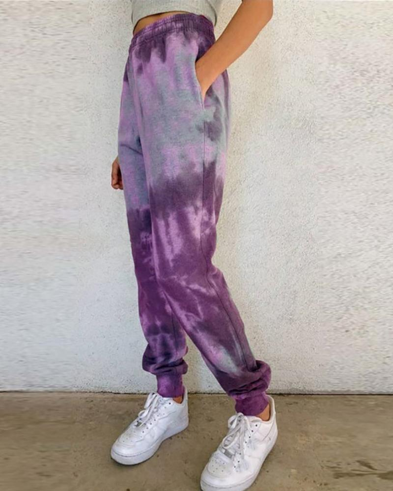 Tie Dye Print Pocket Design Cuffed Sweatpants