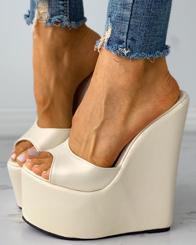 Peep Toe Minimalist Wedge Sandals