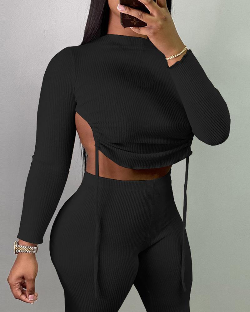 Ribbed Asymmetrical Backless Drawstring Top & Pants Set