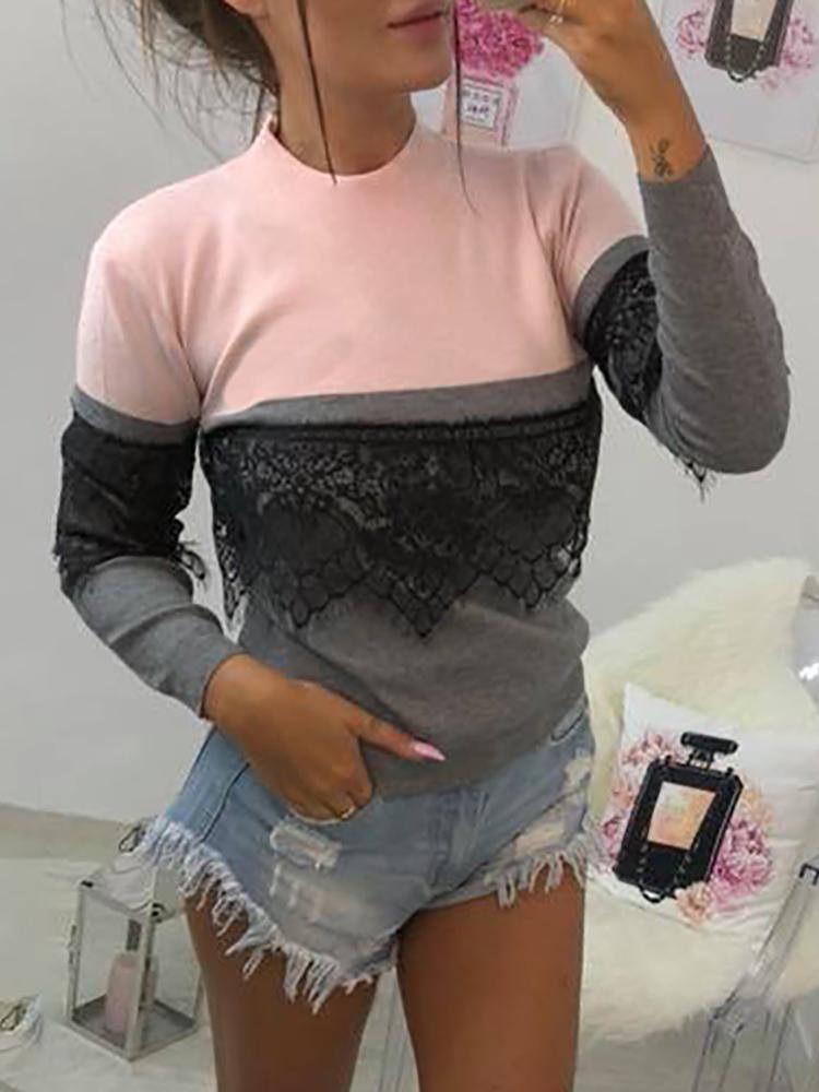 Boutiquefeel coupon: Contrast Color Eyelash Lace Insert Sweatshirt