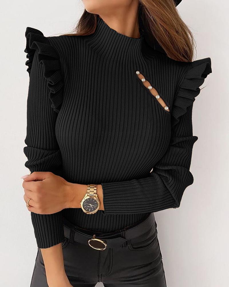 Beaded Cutout Ruffles Long Sleeve Sweater