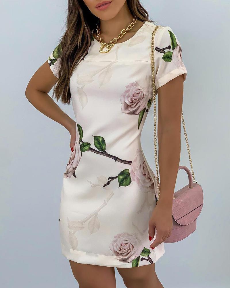 Boutiquefeel coupon: Random Floral Print Short Sleeve Dress
