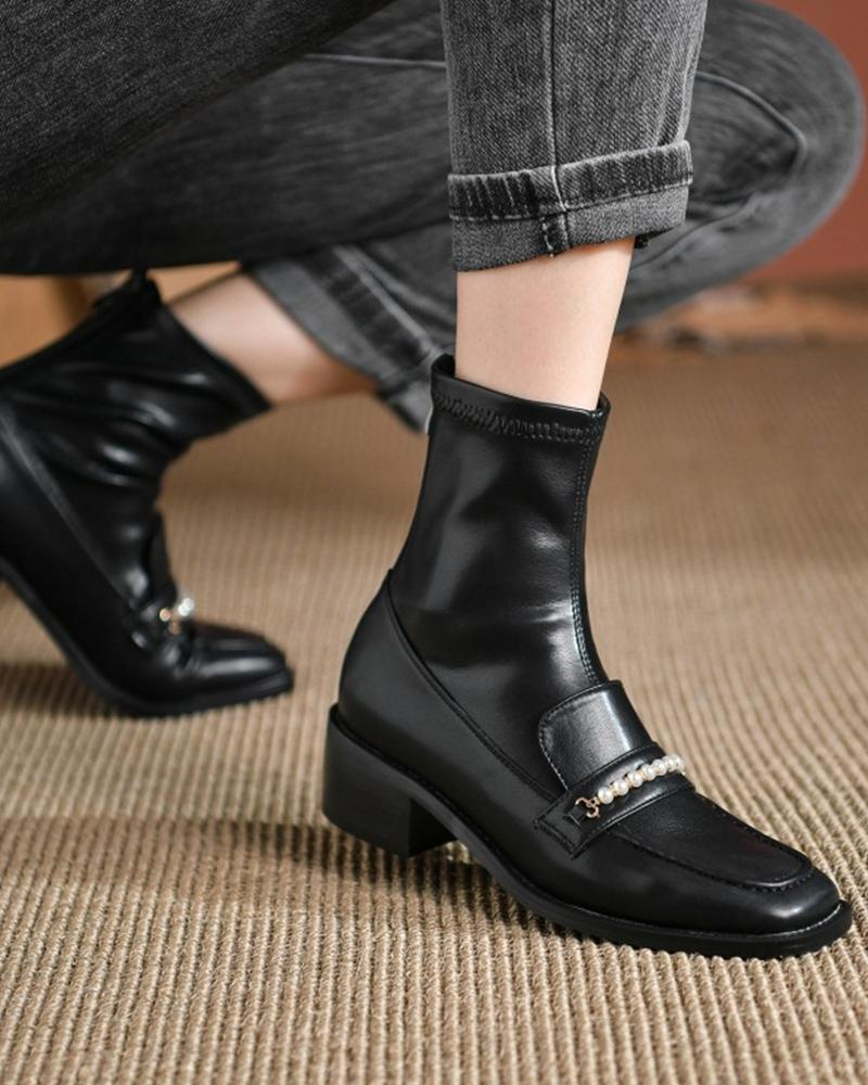 Womens Patchwork Leather Square Toe Chunky Heels Faux Pearl Decor Ankle Booties