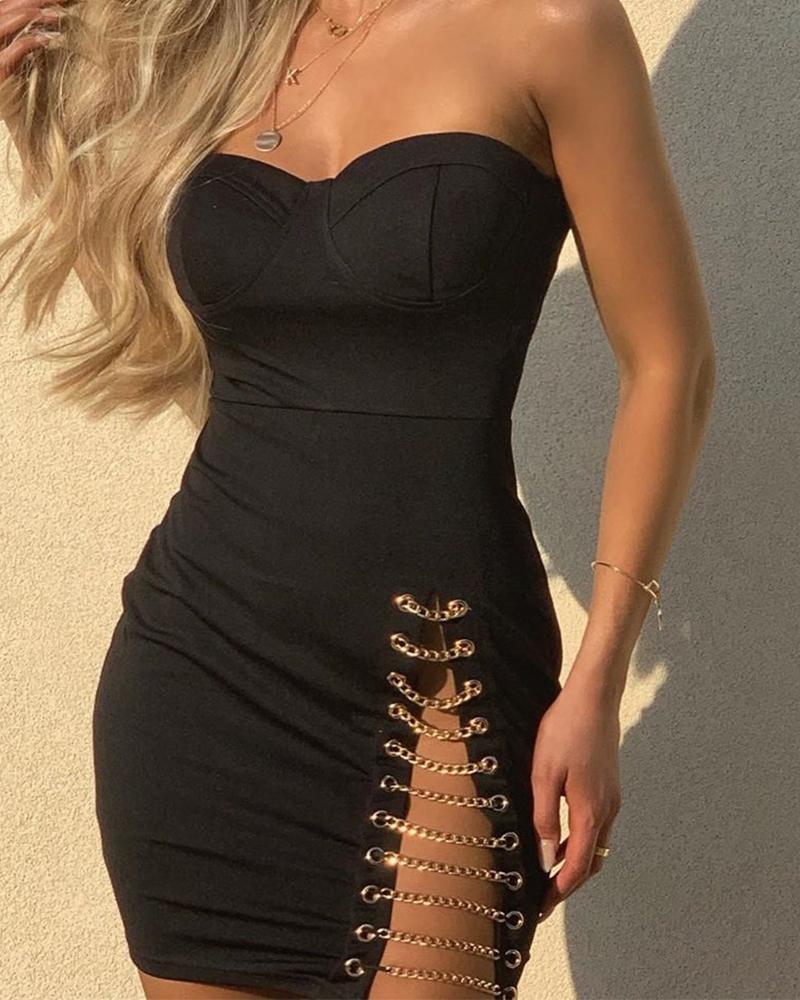 High Slit Chain Evening Dress