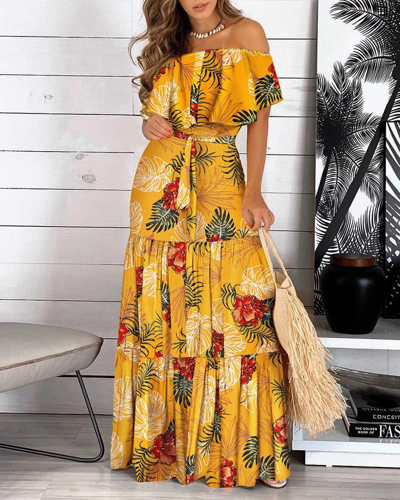 Off Shoulder Ruffle Hem Floral Print Dress, Yellow