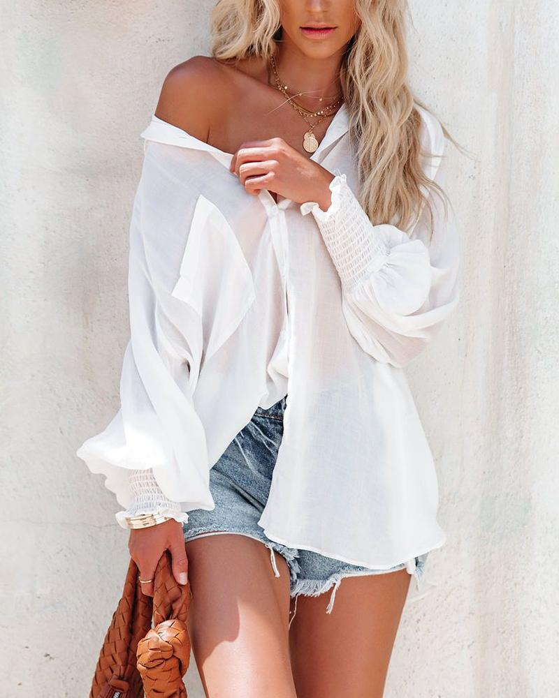 See-through Solid Color Lantern Sleeve Shirt