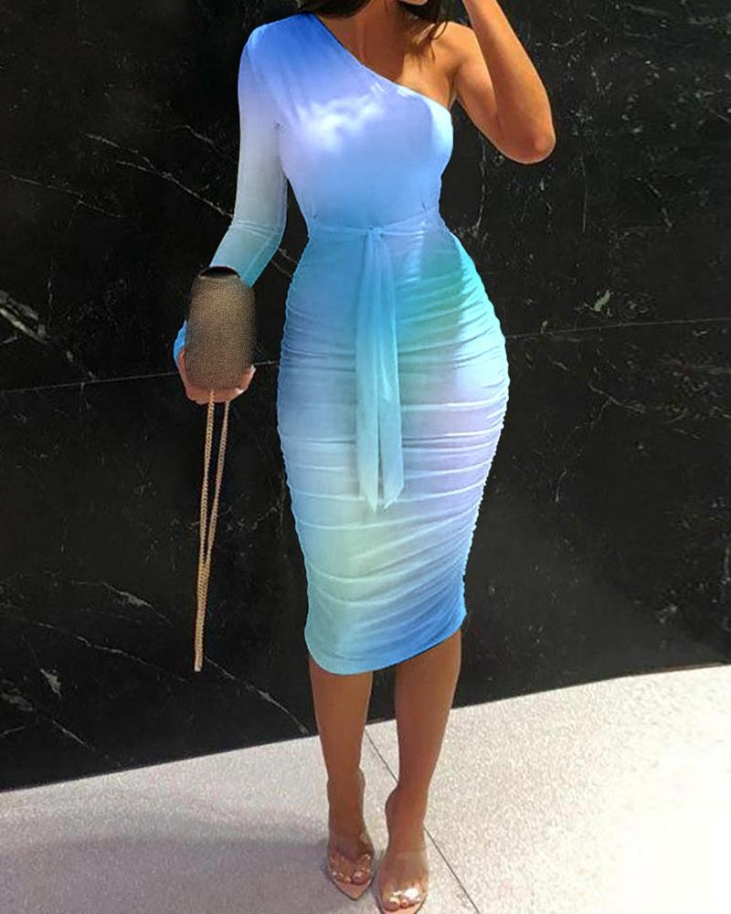 Colorblock One Shoulder Tied Detail Skinny Dress