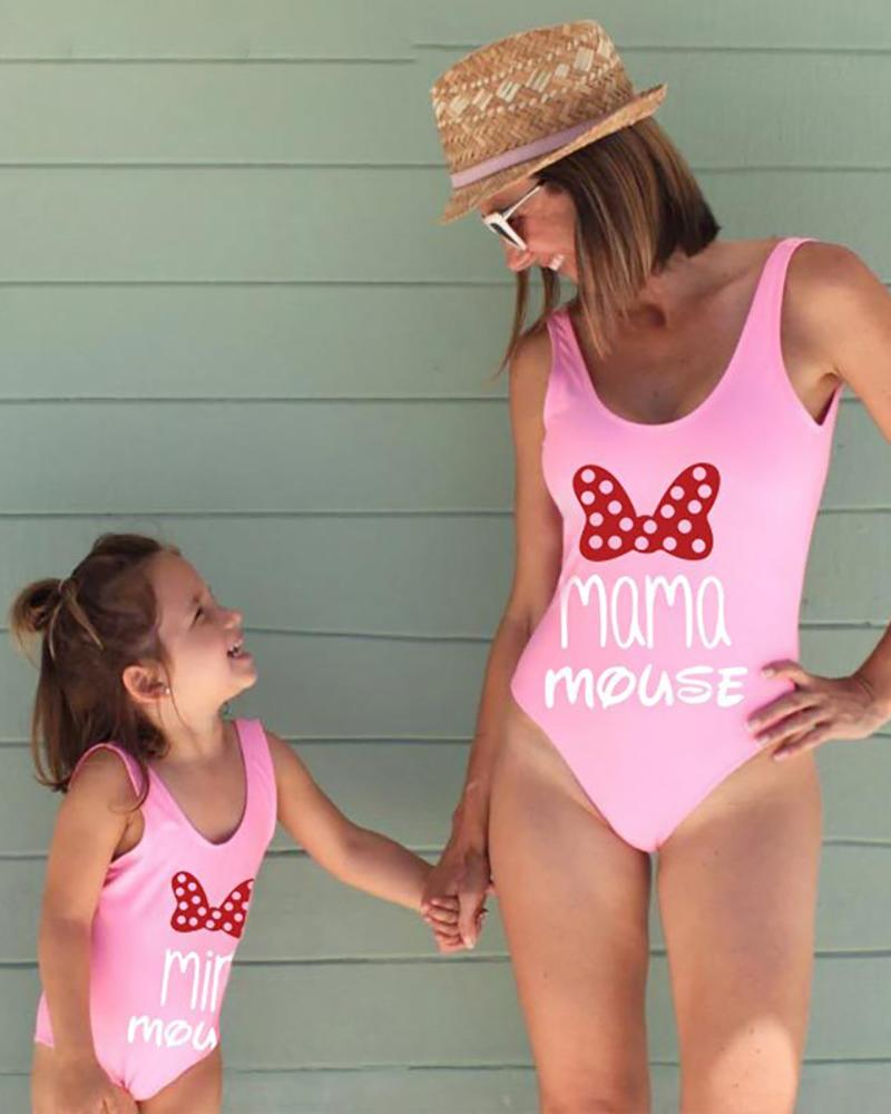 Mommy & me Bowknot Letter Print U-Neck One Piece Swimsuit For Mom