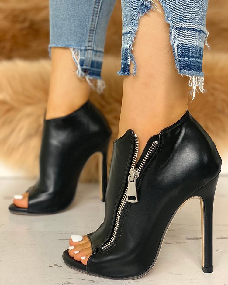 Zip Design Peep Toe Thin Heeled Boots thumbnail