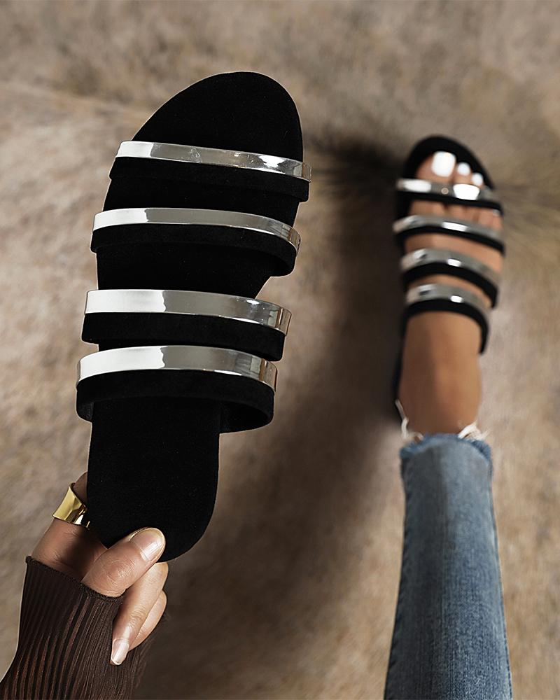 Silver Banded Upper Open-toe Sandals