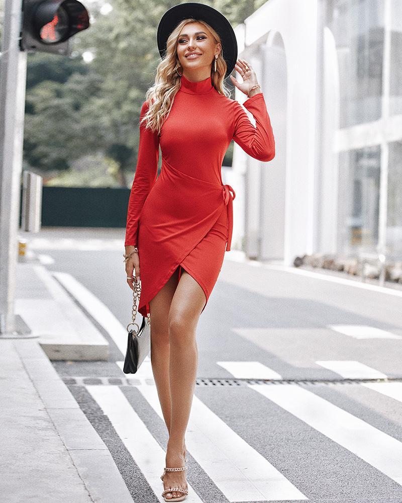 Tied Detail Slit Long Sleeve Skinny Dress, Red
