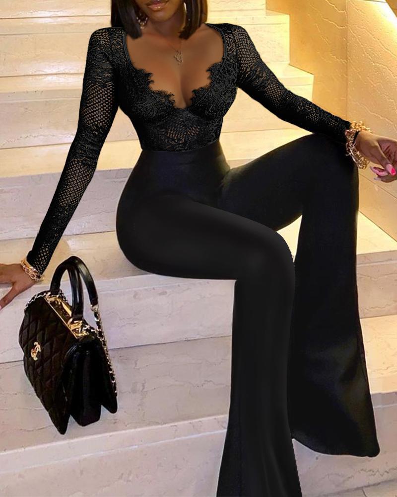 Eyelash Lace Hollow Out Flare Leg Skinny Jumpsuit Elegant Work Jumpsuit Plain V-Neck Long Sleeve Elegant Jumpsuit
