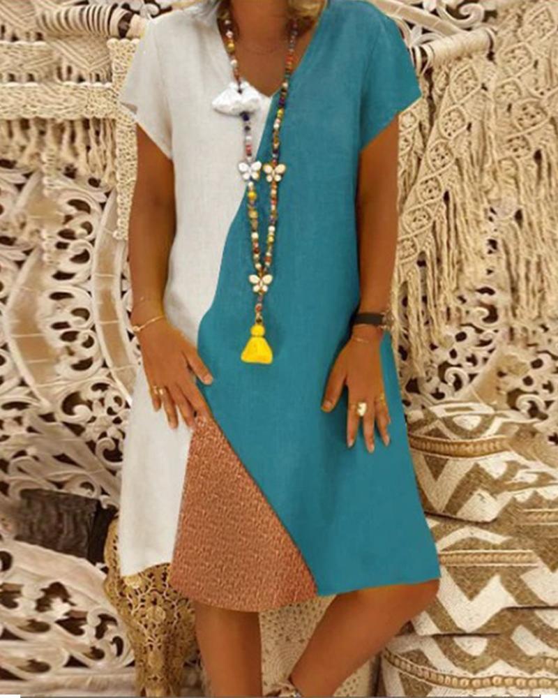 V Neck Multicolor Block Midi dress