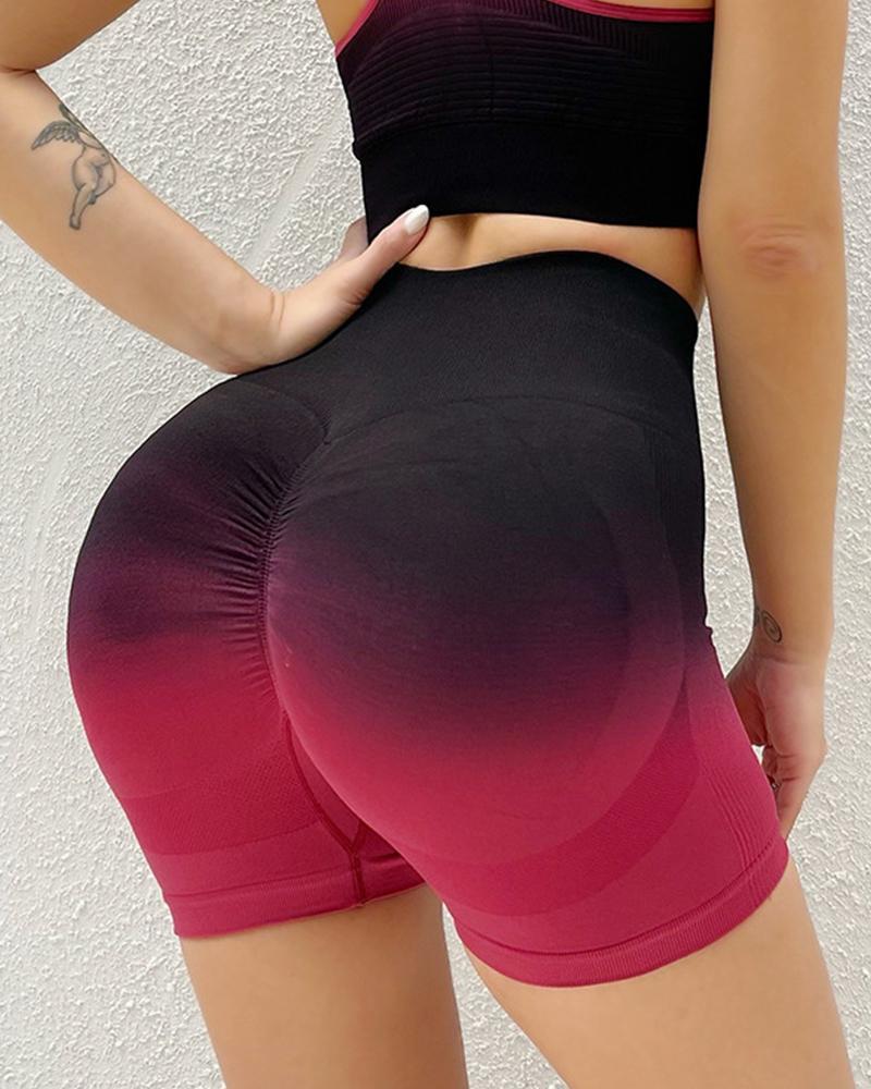 Gradient Color Block Skinny Yoga Pants