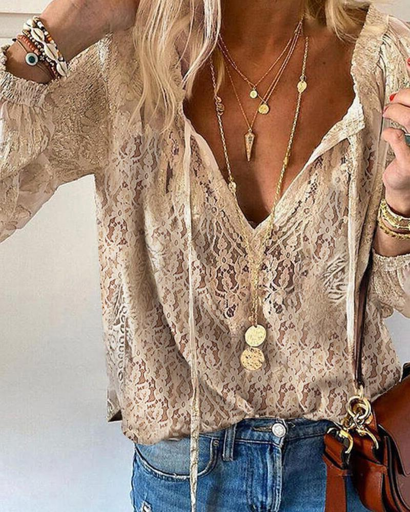 Solid Color Hollow-out Lace Long Sleeve Shirt, boutiquefeel, Apricot  - buy with discount