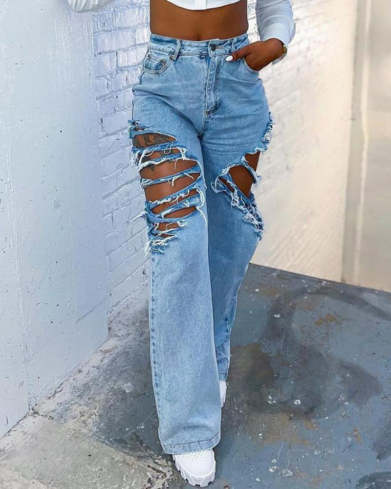 Zipper Fly High Waist Straight Leg Ripped Jeans