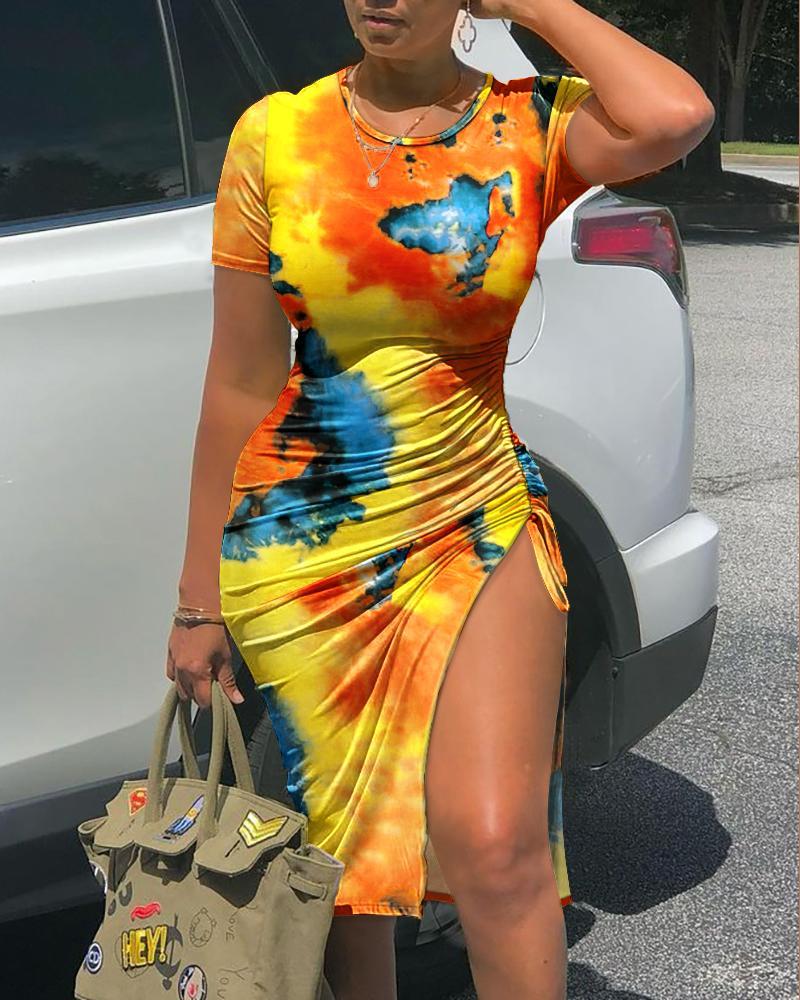 Tie Dye Print Short Sleeve Drawstring Ruched Skinny Dress