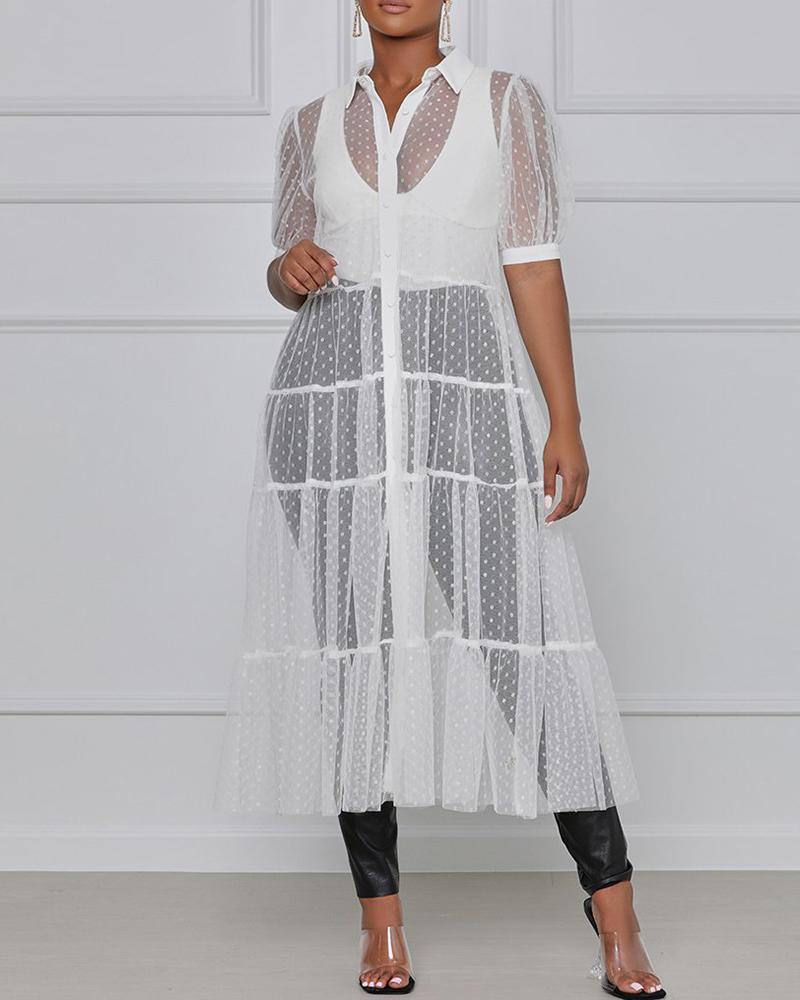 Polkadot Print Sheer Mesh Short Sleeve Maxi Dress