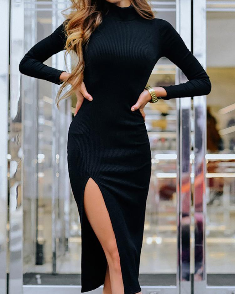 Solid Long Sleeve Slit Side Bodycon Dress