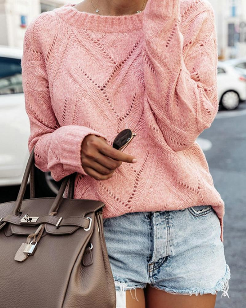 Solid Eyelet Hollow Out Casual Sweater