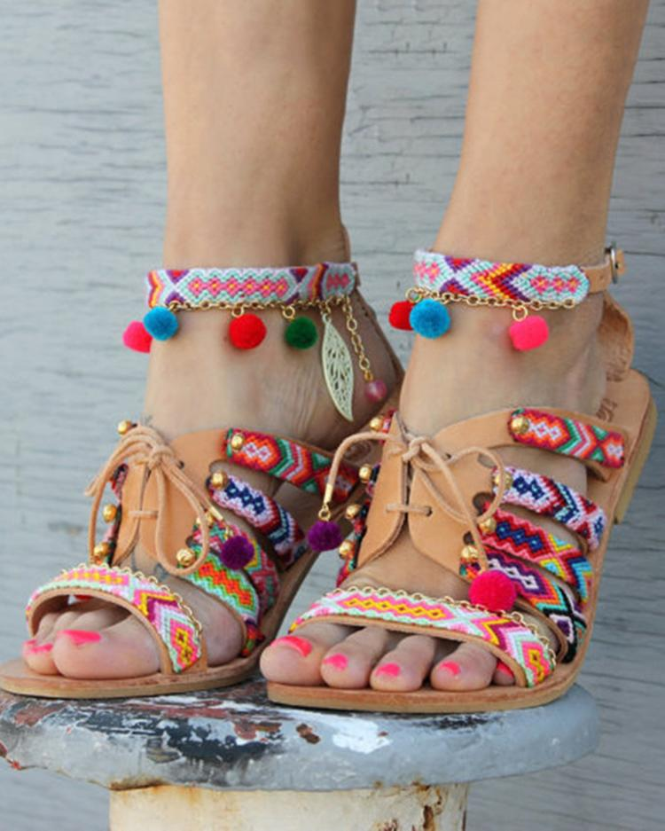 Ethnic Style Pom Pom Lace-up Casual Flat Sandals