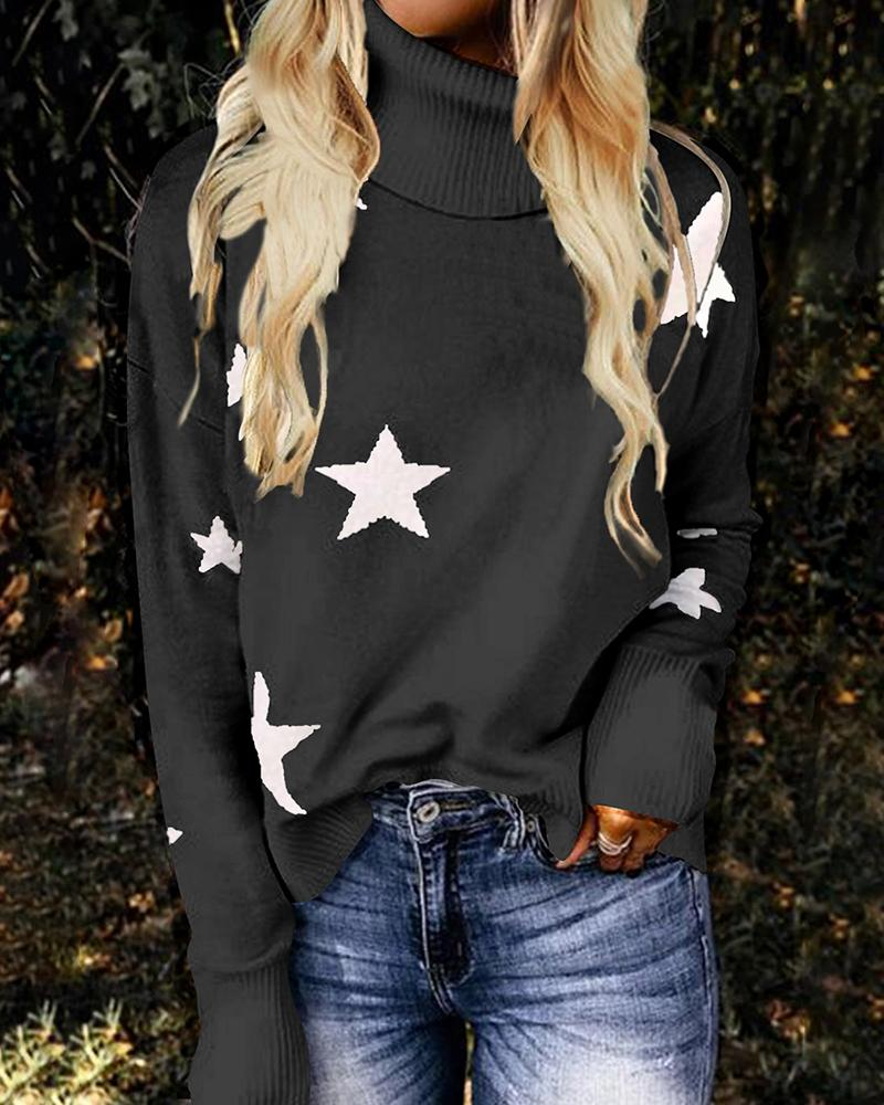 Long Sleeve Star Print High Neck Sweater