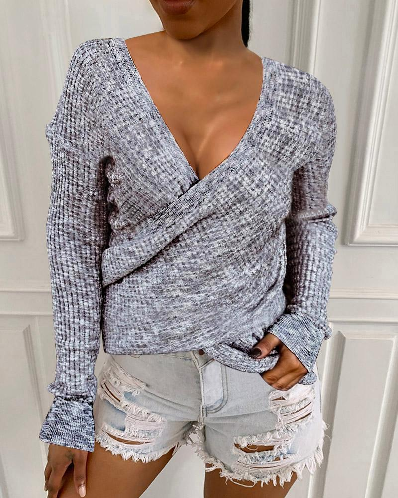 Long Sleeve Ribbed Surplice Casual Sweater
