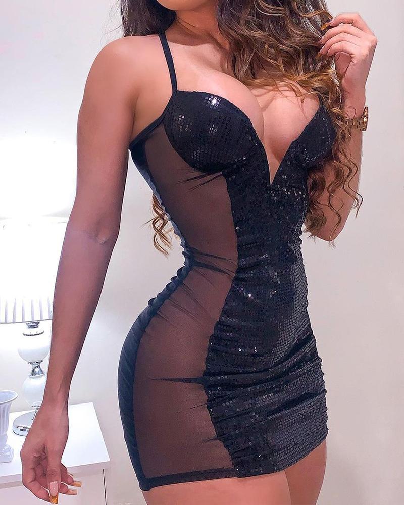 Spaghetti Strap Contrast Mesh Cami Sequin Dress Sexy Low Cut Sleeveless Bodycon Dress Party Dress