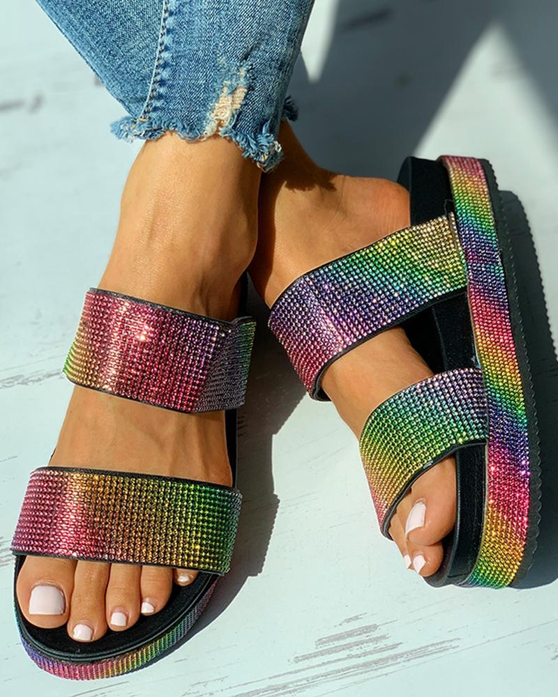Open Toe Studded Platform Slide Sandals