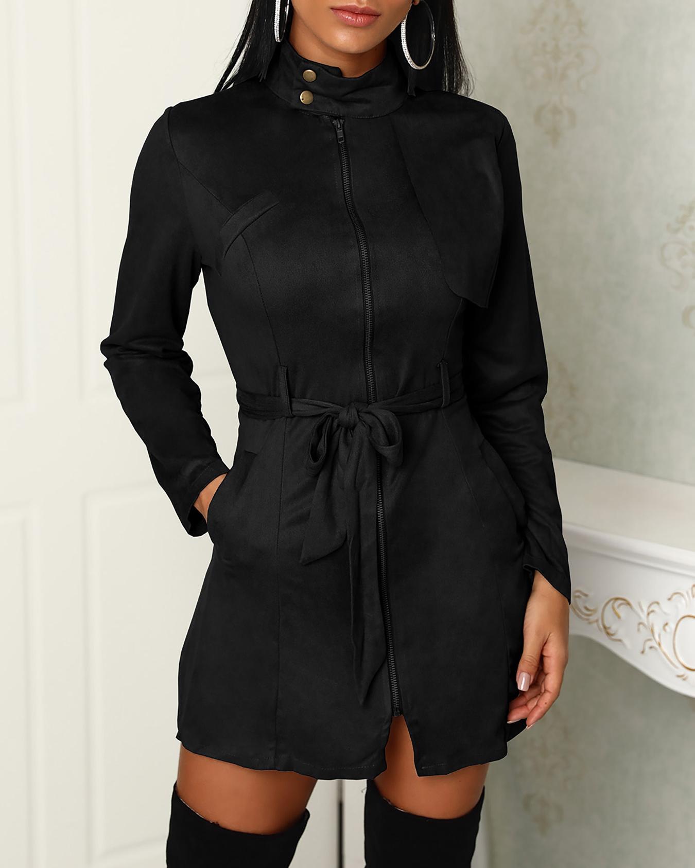 Boutiquefeel coupon: Trendy Zipper Front Pocket Design Belted Coats