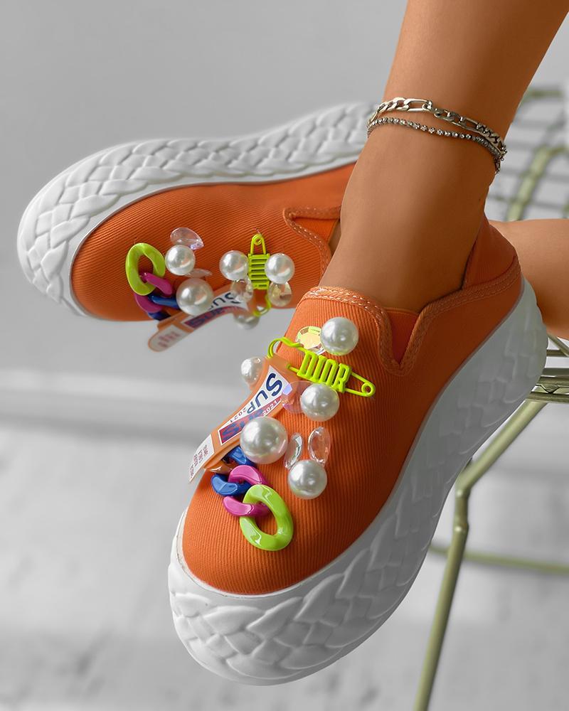 Beaded Chain Decor Flatform Canvas Shoes