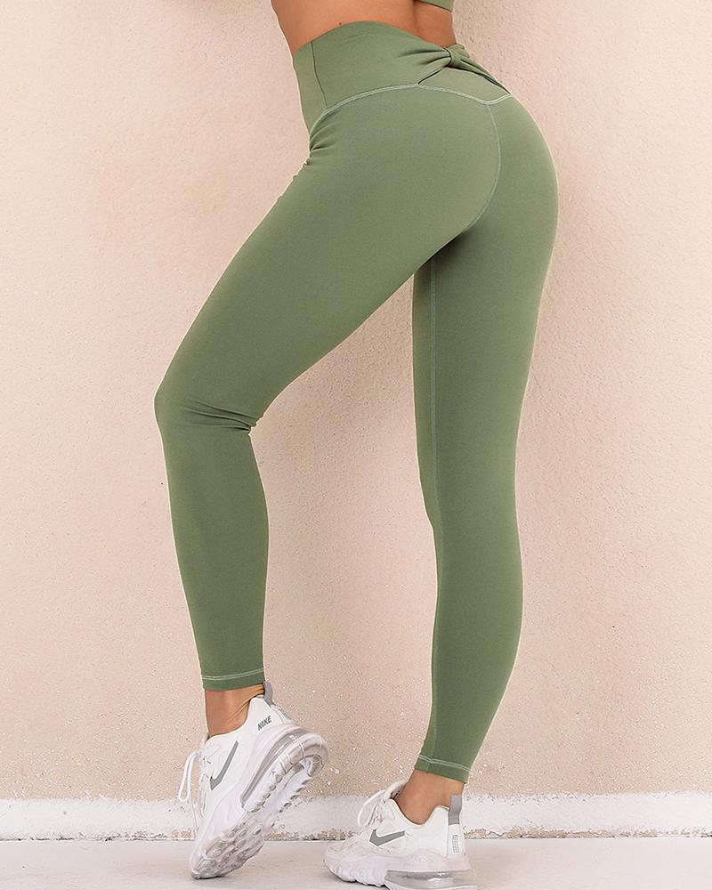Solid Skinny High Elatic Yoga Pants