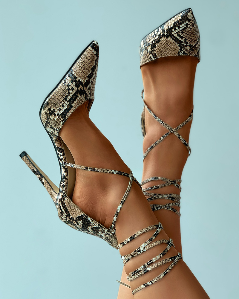 Pointed Toe Snakeskin Print Strappy Stiletto Heels