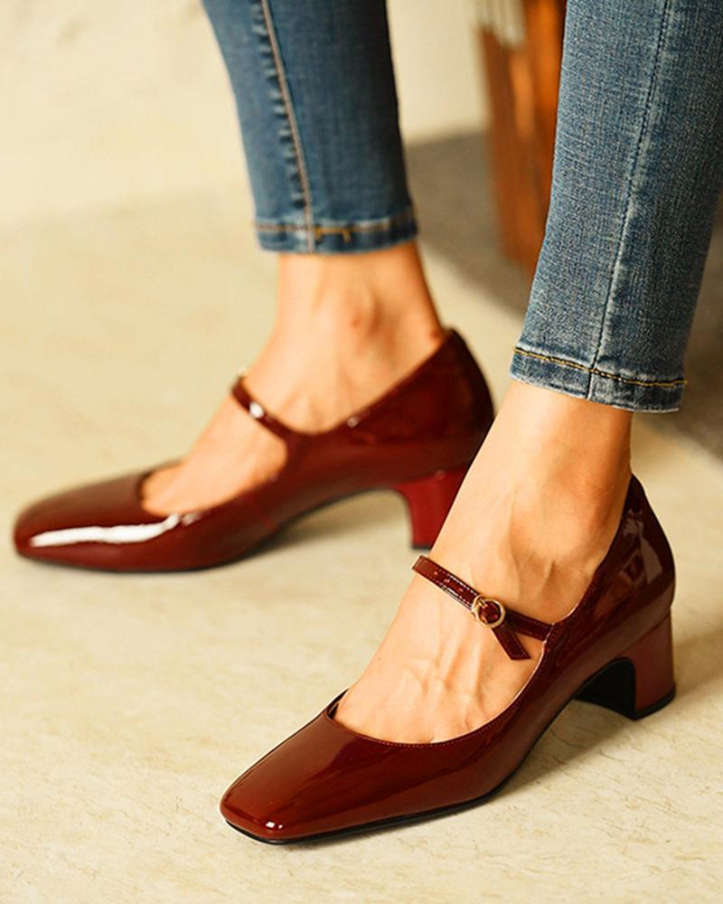 Square Toe Heeled Mary Janes