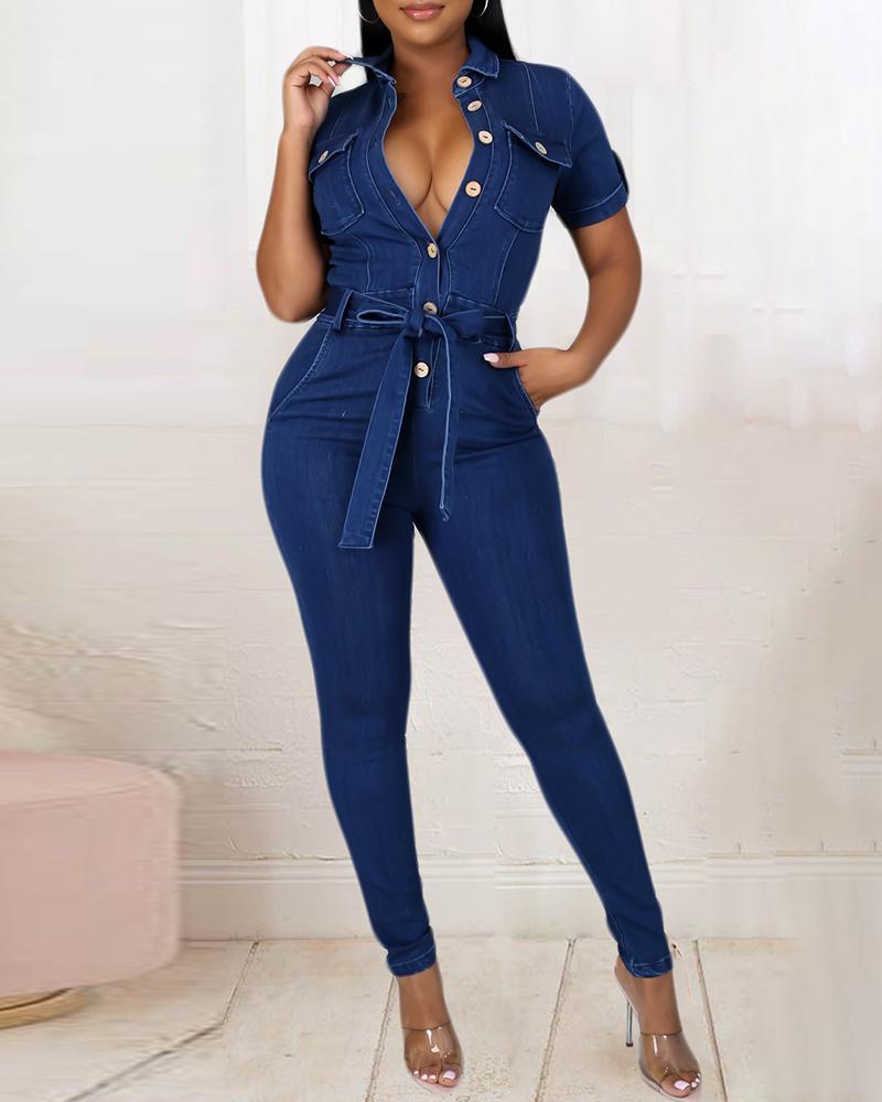Buttoned Pocket Design Skinny Denim Jumpsuit With Belt
