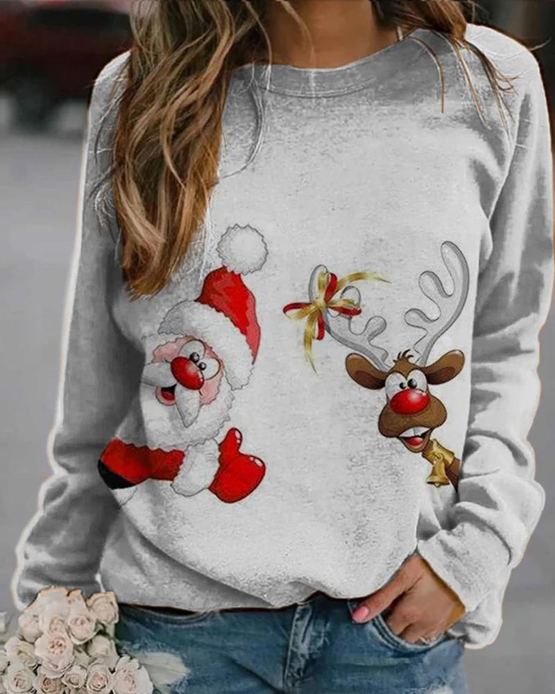 Chriatmas Long Sleeve Loose Sweatshirts