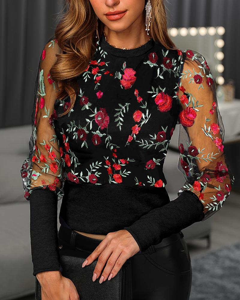 Floral Embroidery Puffed sleeve Mesh Blouse