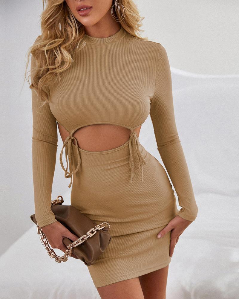 Cut-Out Self Tie Long Sleeve Bodycon Dress