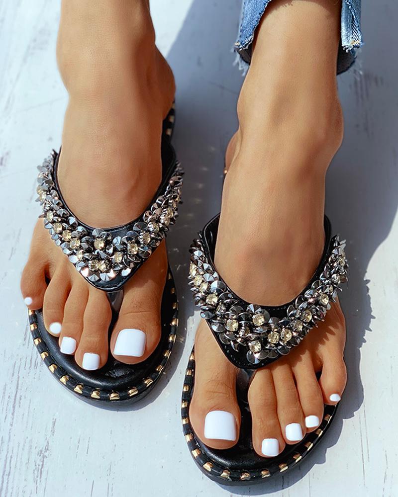 Studded Toe Post Flat Sandals thumbnail