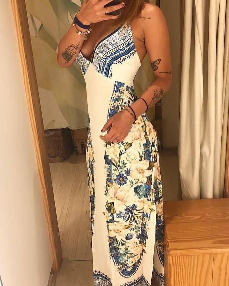 Floral Print V-Neck Criss Cross Tie Back Split Dress